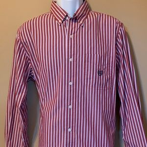 Chaps Easy Care Pinstriped Red/White Dress Shirt
